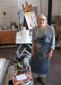 Ann St John Hawley in her studio