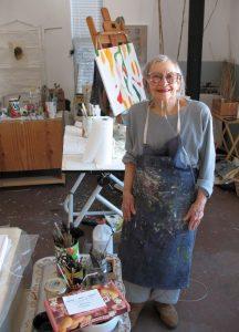 Ann St John Hawley in her studio